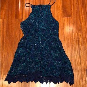 Ecote halter dress with lace trim, size L